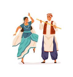 dancers performing indian folk dance dandiya raas vector image