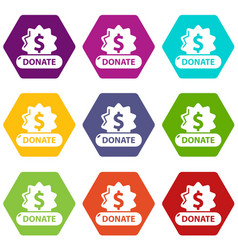 donate badge icons set 9 vector image