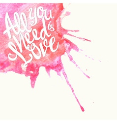 Doodle watercolor lettering symbol of love vector