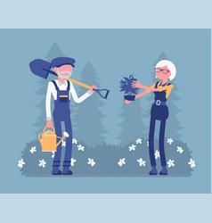 elderly gardeners working vector image
