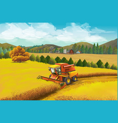 farm background rural landscape vector image