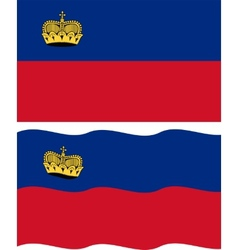 Flat and waving Liechtenstein Flag vector image