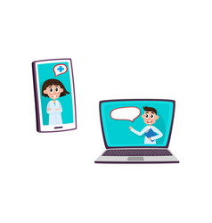 flat doctors in gadgets icon set vector image