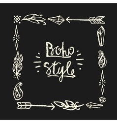 Frame square drawn in chalk in boho style vector