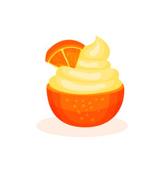 Fruit mousse in half of an orange vector
