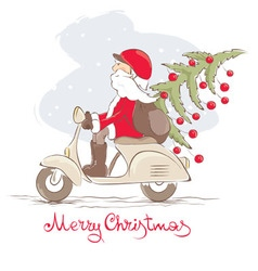 Funny Santa on a scooter vector