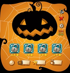 Game template with halloween theme vector image