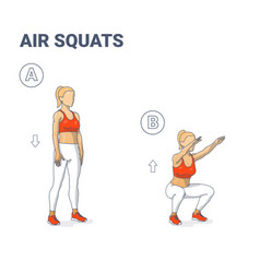 Girl doing air squats exercise home workout vector