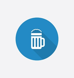 glass of beer Flat Blue Simple Icon with long vector image