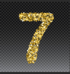 Gold glittering number seven shining golden vector