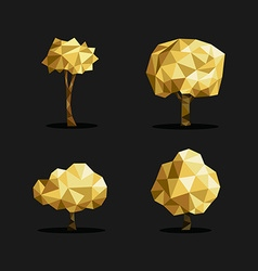 Gold low poly tree triangle set polygon origami vector