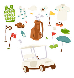 golf icons hobby car equipment cart player golfing vector image