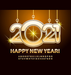 greeting card happy new year 2021 gold alphabet vector image