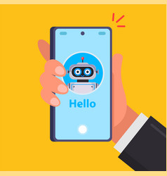 Hand holds a smartphone smiling robot vector