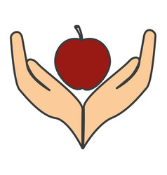 Hands human protected with apple vector