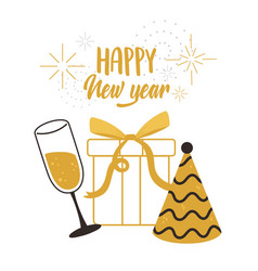 happy new year gift surprise wine cup and party vector image