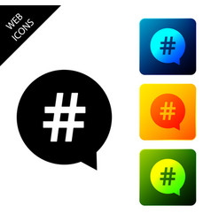 hashtag in circle icon isolated social media vector image