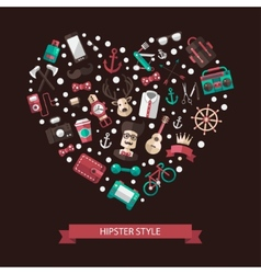 Heart of modern flat design hipster vector image