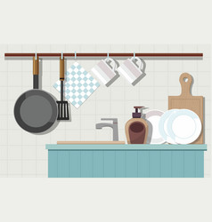 home interior of kitchen with furniture vector image