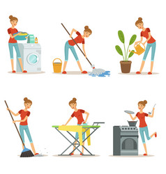 Housewife make different domestic works mother vector