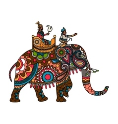 indian maharajah on elephant colored vector image