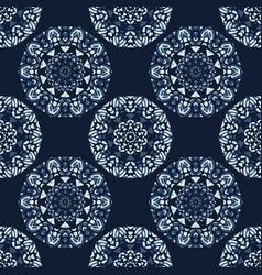 indigo blue circle mandala seamless pattern vector image