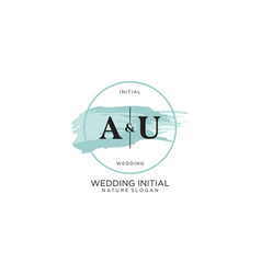 Initial au letter beauty logo handwriting vector