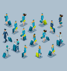 isometry of passengers flight attendants pilots vector image