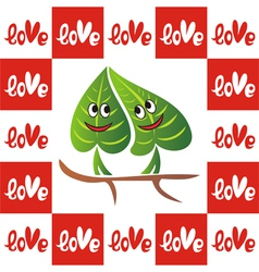 Leaves valentines day card vector image