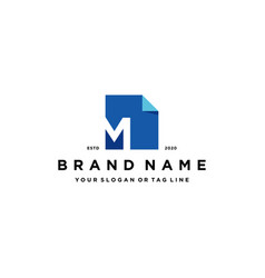 Letter m document logo design vector