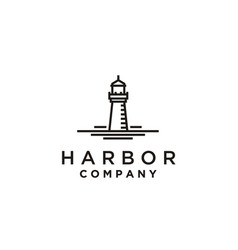 lighthouse searchlight beacon tower beach logo vector image