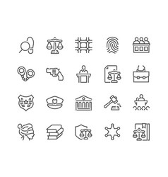 Line law and justice icons vector
