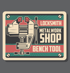 Locksmith and metalworking bench vice tool vector