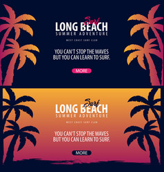Long beach surfing graphic with palms surf club vector