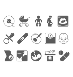 Medicine pregnancy and motherhood icons vector image