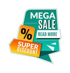 mega sale tag super discount promotional flyer vector image