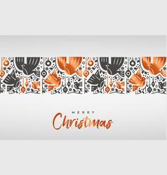 merry christmas scandinavian copper bird card vector image