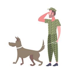 Military man standing with dog army soldier vector