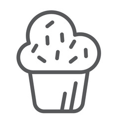 Muffin line icon cake and food cupcake sign vector