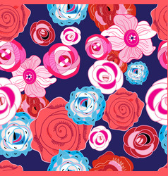 Multi-colored summer pattern different roses vector