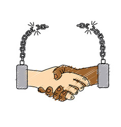 Nice hands together like friendship with chains vector