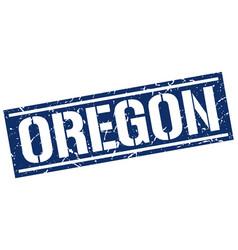 Oregon blue square stamp vector