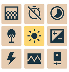 Photo icons set collection mode accelerated vector