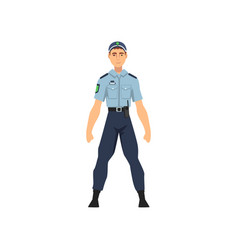 Professional policeman in uniform security police vector