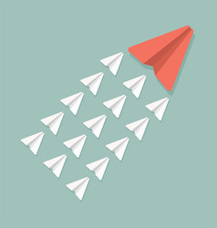 Red and white paper planes teamwork leadership vector
