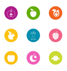 ripe apple icons set flat style vector image