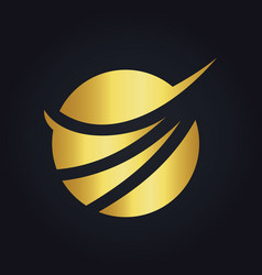Round abstract swoosh globe technology gold logo vector