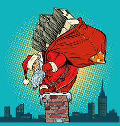 santa claus with money climbs into chimney vector image