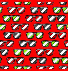 Seamless pattern with cartoon sunglasses vector