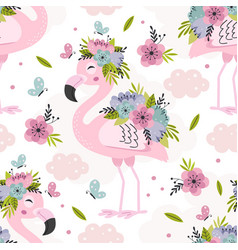 seamless pattern with pink flamingo vector image